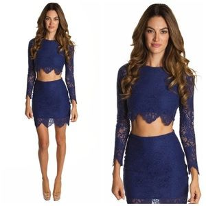 NWT For Love & Lemons midnight lace crop top